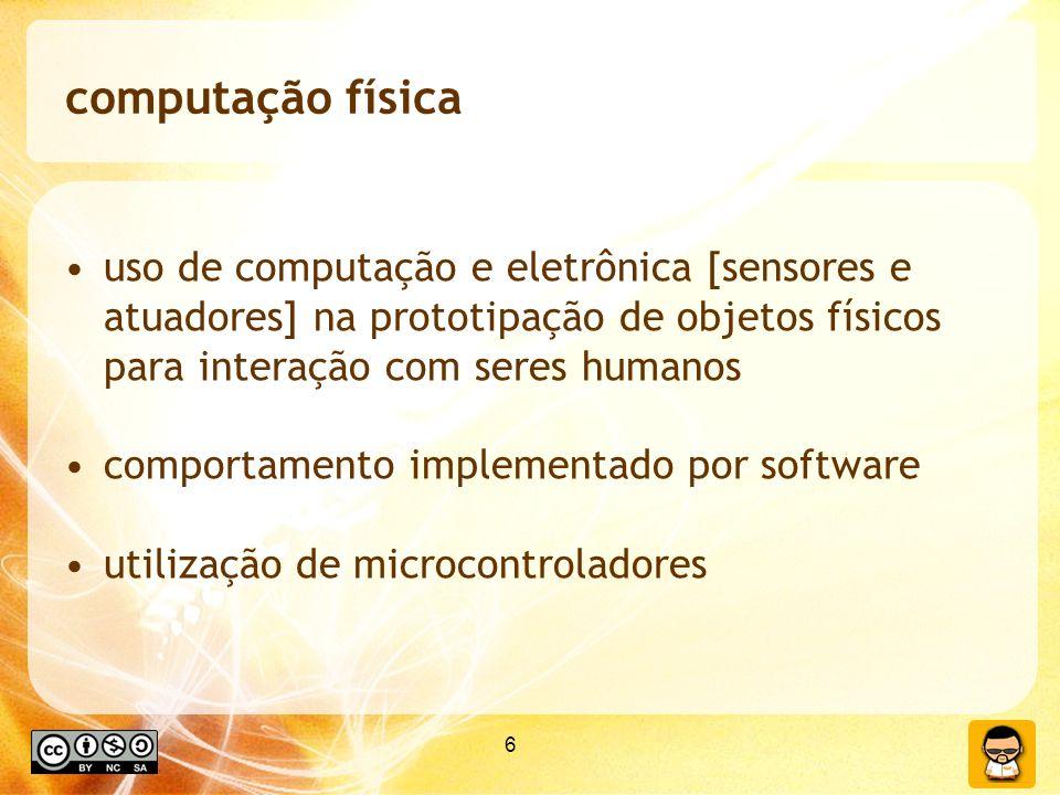 computação física uso de computação e eletrônica [sensores e atuadores] na prototipação de objetos físicos para interação com seres humanos.